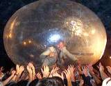 A strange photo of a spaceball exhabit at the Allentown Fair