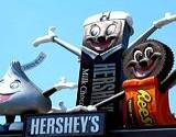 photo of Hershey's characters Hershey Kiss, Hershey Bar and Reese's Peanut Butter Cup all on display at Hershey Park