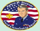 A Good Citizenship Award patch with James Stewart's picture on it