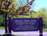 A sign leading to Valley View Park on the Mystery Tour