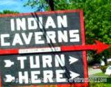 A sign leading to The Indian Caverns on Mystery Tour
