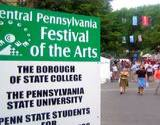 View of sign and street at State College Central Pennsylvania Festival of the Arts