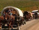 photo of a caravan of Appalachian Wagon Train participants