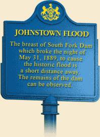 photo of a road sign about historic Johnstown Flood