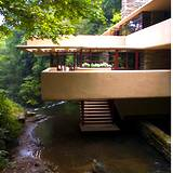 View of the back of Frank Lloyd Wrights Fallingwater