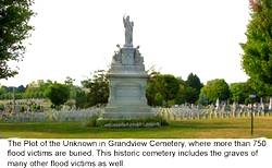photo of Grandview cemetery where many of the flood victims are buried, many unknown