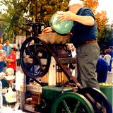 apple cider press in operation