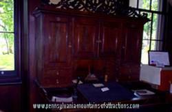 antique desk in Baker Mansion office