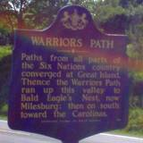 photo of a sign marker explaining the Indian path through the Bald Eagle State Park area