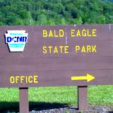 photo of PA State Park sign leading into Bald Eagle State Park