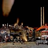 photo of stream locomotion at night at East Broad Top Railroad