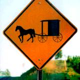 photo of a road sign warning of Amish buggy crossing in PA