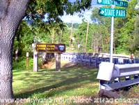 Photo of the sign leading to the area with the bat colony at Canoe Creek Sate Park