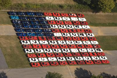 Corvettes at Carlisle Corvette American Flag Display