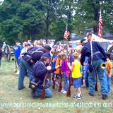 DelGrosso Parks Harvestfest Civil War encampment yankees with children