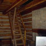 photo of the inside steps at a cabin at Central Pennsylvania historic landmark Fort Roberdeau