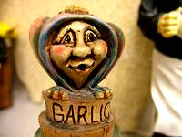 photo of a garlic container shaped like a little old lady displayed at the Pocono Garlic Festival