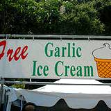 A garlic ice cream stand giving free samples at Pocono Garlic Festival