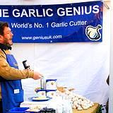 A garlic genius giving demo at Pocono Garlic Festival