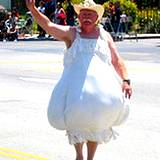 Photo of a man dressed like a bulb of garlic at the PA Garlic Festival