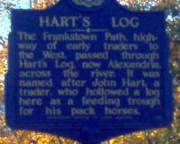 photo of a sign leading into Alexandra, PA telling the history of Hartz Log
