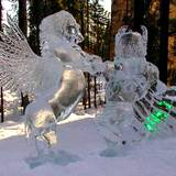 ice sculpture of unicorn and bear