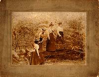 A photo taken at Idlewild Park in the early 1900s of 4 old fashioned dressed ladies.