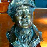 A bust of James Stewart on display in the James Stewart Museum
