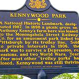 photo of a PA historical marker declaring Kennywood Park a National Historic Landmark