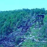 photo of another view of the destruction of Kinzua Viaduct at Kinzua Bridge State Park