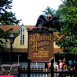 sign to haunted house at Knoebels Park