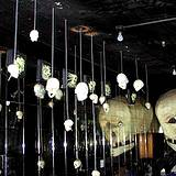 Room full of skulls in haunted house at Knoebels Amusement Park