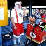 A photo of Santa entertaining at the Kutztown Fair