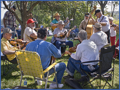 Jamming is one of the popular attractions at the Lyons Fiddle Festival.