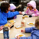 photo of breakfast of pancakes with maple syrup at the Pennsylvania Maple Festival