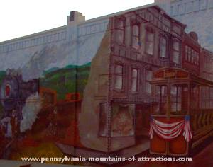 mural of streetcar before it was done