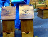 The People's Choice Festival wooden crafts for sale, tatter and onion bins.