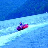 rubber motor boat on Raystown Lake