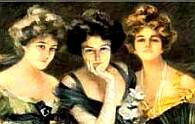 Three beautiful women from the 1700s era