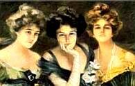 Three beautiful women from the 1700s era