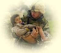 Soldier in war carrying a small child
