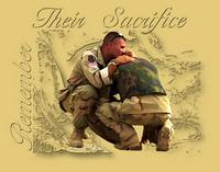 Two soldiers hugging in sorrow