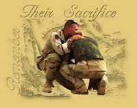 Soldiers hugging in sorrow