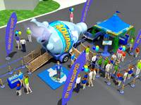 Nestle Water exhibit with inflatable waterbottle for children to jump in