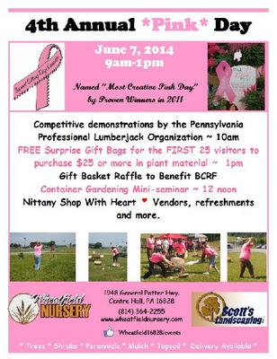 4th Annual PINK DAY Festival at Wheatfield Nursery, Centre Hall
