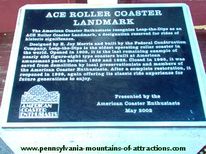 Lakemont Parks Award Plaque Oldest Roller Coater in the World