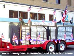 photo of a replica of The Wall in Veterans Day Parade