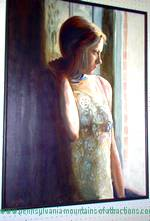 oil painting display of girl gazing out of window at Blair County PA Art Festival