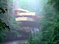 View of Frank Lloyd Wright's Fallingwater in a misty fog