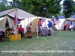 Civil War reenactment camp